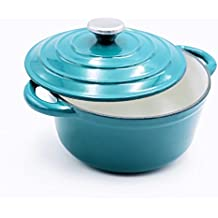 Aidea Enameled Cast Iron Round Dutch Oven French Oven, 5-Quart,Turquoise, KL-D5-T