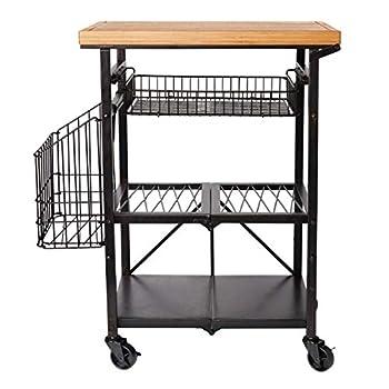 Image of Bread Baskets Artesa Bamboo Wood Folding Kitchen Cart with Basket, Black