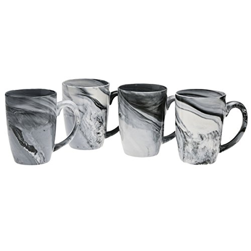 Culver 16-Ounce Palermo Ceramic Mug Set of 4 (Black Marble)