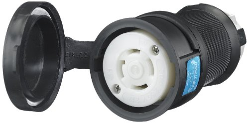 Hubbell Wiring Systems HBL2743SW Twist-Lock Watertight Safety Shroud Female Connector, 30 amp, 3-Phase 600VAC, 3-Pole, 4-Wire Grounding, L17-30R, Black/White
