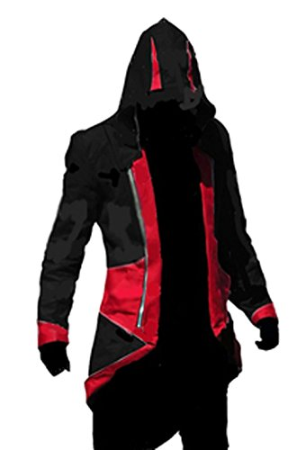 fantasycart Connor Kenway Costume Hoodie Costume Jacket Coat Black&Red Size L]()