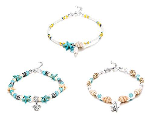 Finrezio 3Pcs Ankle Bracelets