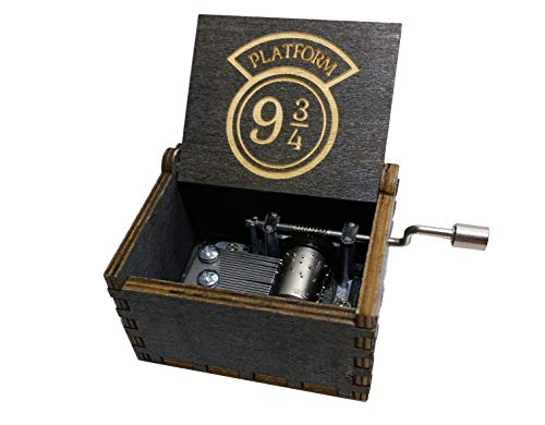 The Magical World HP Music Box, Wood Engraved with Novelty Custom Design (Black)