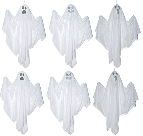 One Holiday Way Set of 6 Large White Hanging Ghosts Halloween Decoration