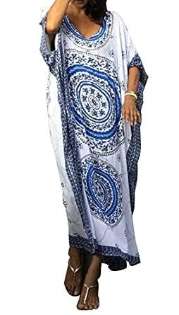 RBwinner Women's Soft African Print Beach Cover Up Ethnic Dashiki Print Kaftan Bathing Suit Maxi Dress