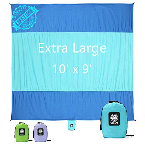 WEKAPO Sand Proof Beach Blanket, Extra Large Oversized 10'X 9' Beach Mat, Big & Compact Sand Free Mat Quick Drying, Lightweight & Durable with 6 Stakes & 4 Corner Pockets