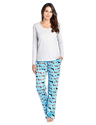 Ashford & Brooks Women's Long Sleeve Cotton Top with Mink Fleece Pants Pajama Set - Turquoise Dachshund Dog Lover - X-Small ()