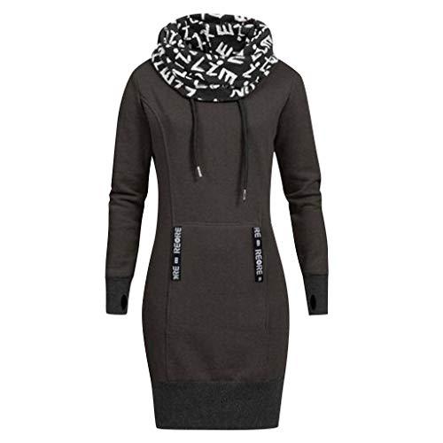 Cappuccio Vestito Lettera Size Manica Donna Scuro Grigio Stampa Collare Plus Lunga Casual Con w8nN0m
