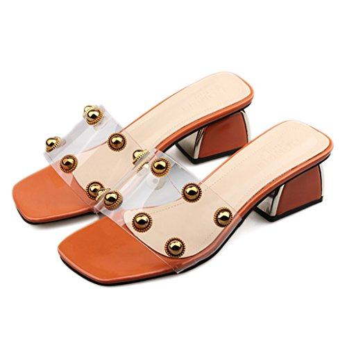 5 Camminata Per Orange Signore Donna Moda Altezza Alla Shopping Sandalo Trasparente Tacco Estate Cinturino La La Pantofola In Per Tacco Perline Delle Con CM Partito Luccicanti Scarpe Stud xwSZxOqg