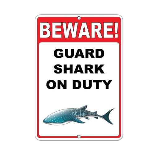 On Duty Style 4 Funny Quote Aluminum METAL Sign 8 inch x 12 inch custom Home Outdoor garadge Cave decor (Shark Street Sign)