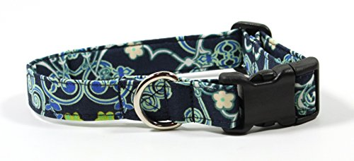 (Ruff Roxy Blue Trellis, Designer Cotton Dog Collar, Adjustable Handmade Fabric Collars (S))