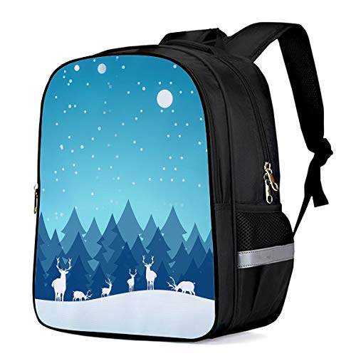 Celebrating Reindeer - Durable Waterproof Kids Backpack Schoolbag, Reindeers Together celebrating Christmas on Snowy Night Anti-Theft Travel Camping Lightweight Student Notebook Backpack for Boys/Girls/Sports