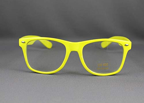 Yellow clear lens risky business sunglasses 80s retro style glasses R-3998