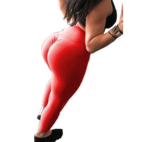 (CROSS1946 Women's High Waist Back Ruched Legging Butt Lift Yoga Pants Hip Push Up Workout Stretch Capris M Red)