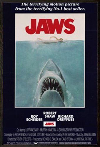 Jaws - One Sheet Poster in a Walnut Wood Frame  22044-PSA009