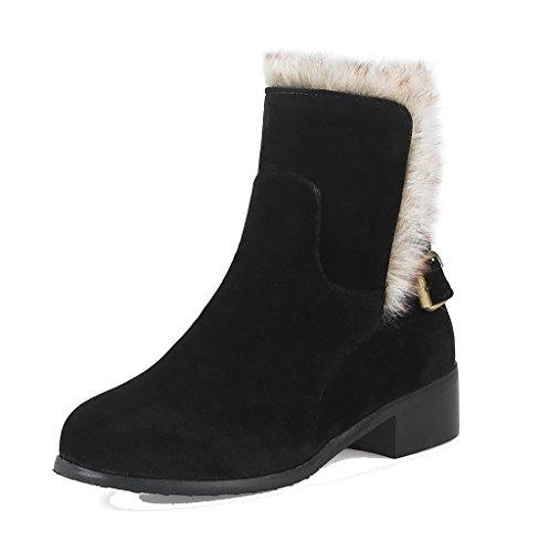 Tacón Tacón Grueso Puntera Mujer AgeeMi Negro Redonda Shoes Hebilla Mini Boots x1q7x60Rw