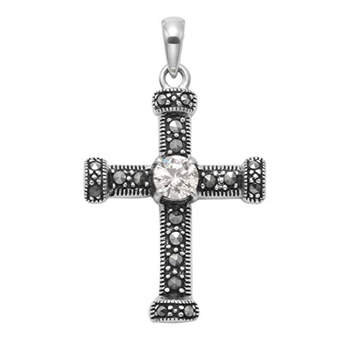(Wild Things Sterling Silver Cross Pendant w/Marcasite Stones & Facted Crystal Stone)