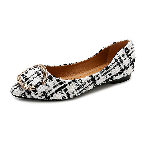 (Meeshine Womens Classic Pointy Toe Ballet Flats Slip On Plaid Dress Flat Shoes White-04 US 6)