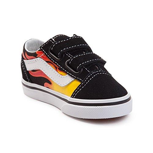 63e94f155e3 Galleon - Vans Toddlers Old Skool V (Flame) Black Black True White  VN0A344KPHN Toddler Size 4
