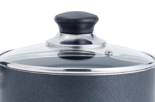 T-fal A85724 Specialty Nonstick Dishwasher Safe PFOA Free Cookware Handy Pot Sauce Pan with Glass Lid, 3-Quart, Gray