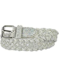 Girls Belt - Colorful Metallic Glitter Braided Faux Leather Belt for Kids by Belle Donne