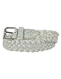 Girls Belt - Colorful Metallic Glitter Braided Faux Leather Belt for Kids by Belle Donne