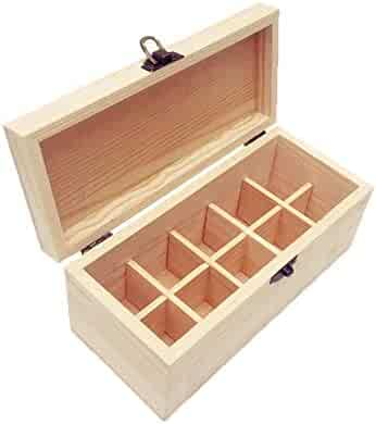 Essential Oils Storage Wooden Box - with 10 Slots for 30ml Bottles, Essential Oils Wooden Case Perfect for Display & Presentation