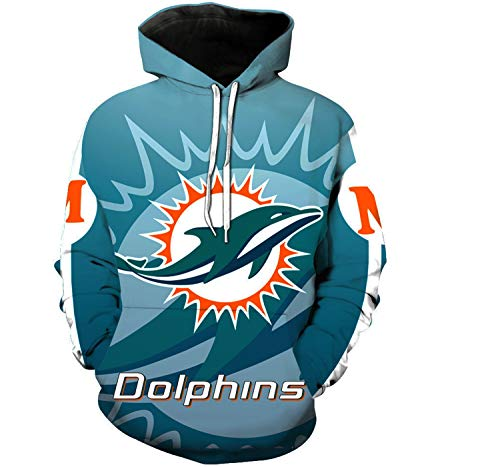 (Men's Hooded Long Sleeve Cartoon Print Miami Dolphins Football Team Sports 3D Pullover Hoodies(L,Blue))
