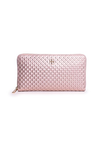 Tory Burch Marion Embossed Metallic Multi-Gusset Zip Continental Wallet in Rosegold by Tory Burch