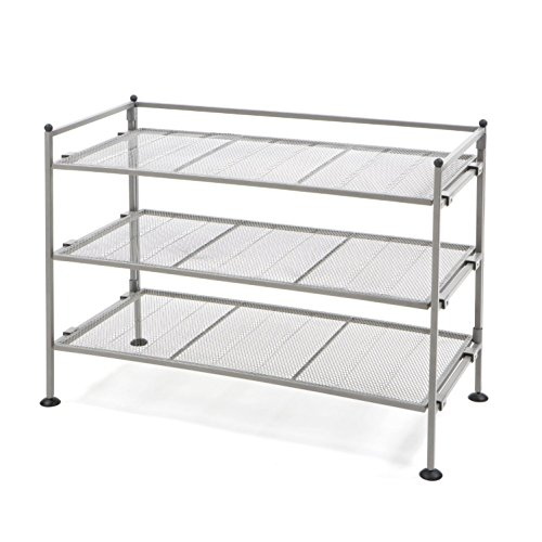 Seville Classics 3-Tier Iron Mesh Utility Shoe Rack, Satin Pewter (Single Not Storage Unit)