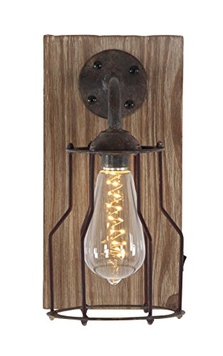 Deco 79 84330 Brown Iron and Wood LED Wall Sconce Clear