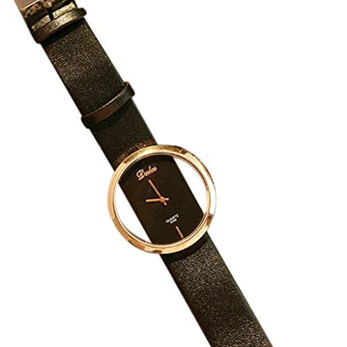 Garish❤️❤️Women's Watch Jewelry-23cm Watch Band,Vintage Rome Round Shape Wristwatch,Quartz Leather Watches Black ()