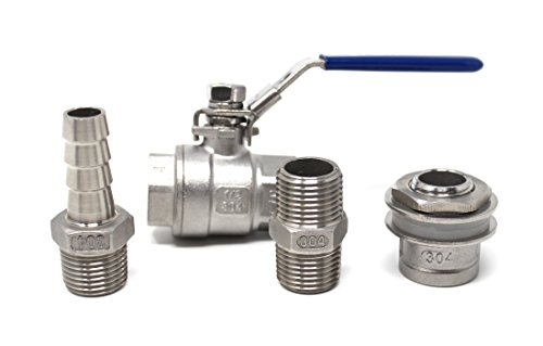 Concord 1/2'' 304 Full Stainless Steel Ball Valve Spigot w/ Bulkhead Nipple and Barb by Concord Global Trading (Image #3)