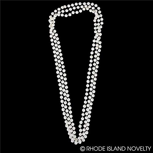 Rhode Island Novelty 48-Inch Large Faux Pearl Necklace, White, 12 Pack
