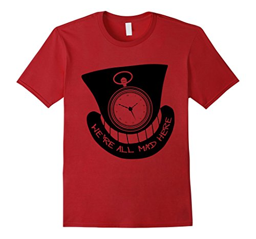 Mens Alice In Wonderland We're All Mad Here Watch & Hat T-Shirt XL - Cat In Hat The Shirt Red