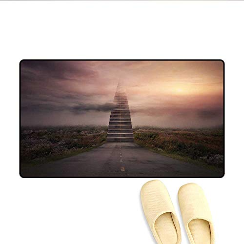Doormat Ladder Going Up to Sky Foggy Air Enchanted Philosophical Scenery Bath Mat for Tub Bathroom Mat Pale Mauve Olive Green 32