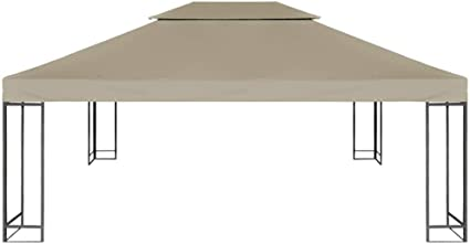 Benkeg Toldo De Cenador 4X3 M 2 Niveles Gris Taupe 310 G/M² Impermeable, Toldo De Repuesto Techo del Cenador, Toldo De Jardín Toldo De Exterior