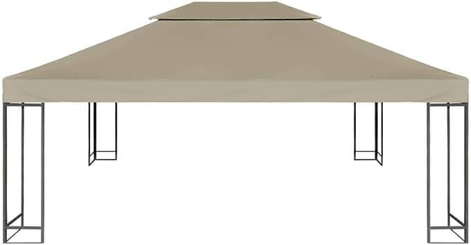Benkeg Toldo De Cenador 4X3 M 2 Niveles Gris Taupe 310 G/M² Impermeable, Toldo De Repuesto Techo del Cenador, Toldo De Jardín Toldo De Exterior: Amazon.es: Hogar