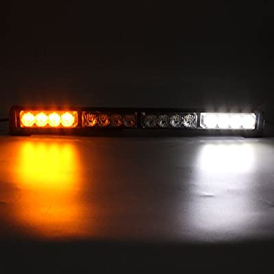 GES 16 LED Flashing LED Lights, 18 Inch Emergency Vehicle Light 7 Flashing Modes Flash Lights, Warning Traffic LED Light for Car Truck (White and Yellow): Automotive