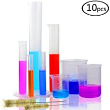DEPEPE 5 Clear Plastic Graduated Cylinders Measure with 3 Plastic Beakers and 2 Test Tube Brushes