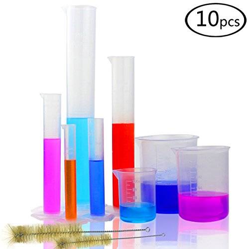DEPEPE 5 Clear Plastic Graduated Cylinders Measure with 3 Plastic Beakers and 2 Test Tube Brushes (Plastic Cylinder)