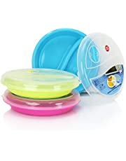 (Set of 3) Microwave Food Storage Tray Containers - 2 Section/Compartment Divided Plates w/Vented Lid