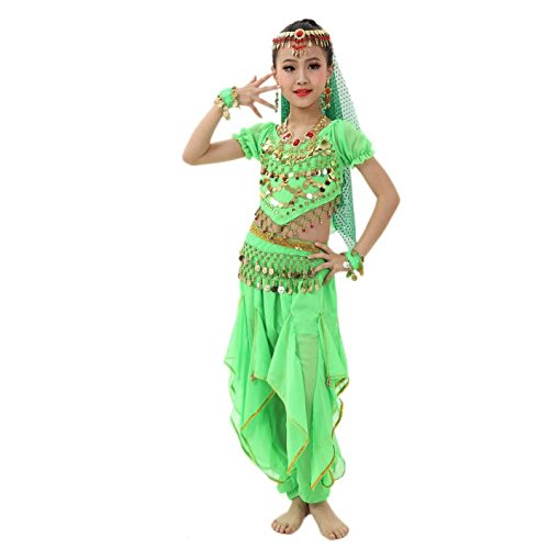 Coper Fashion Handmade Little Girls Belly Dance Costumes Egypt Performance (Green, L) (Dance Costumes For Pageants)