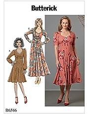 أنماط الخياطة من Butterick B6586A5 للنساء حتى الركبة فستان مطوي بطول الركبة أنماط الخياطة، 6-8-10-12-14، أبيض