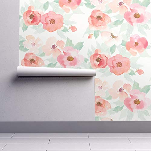 Peel-and-Stick Removable Wallpaper - Floral Floral Blush Plush Rose Pink Nursery Floral Watercolor by Willowlanetextiles - 12in x 24in Woven Textured Peel-and-Stick Removable Wallpaper Test Swatch