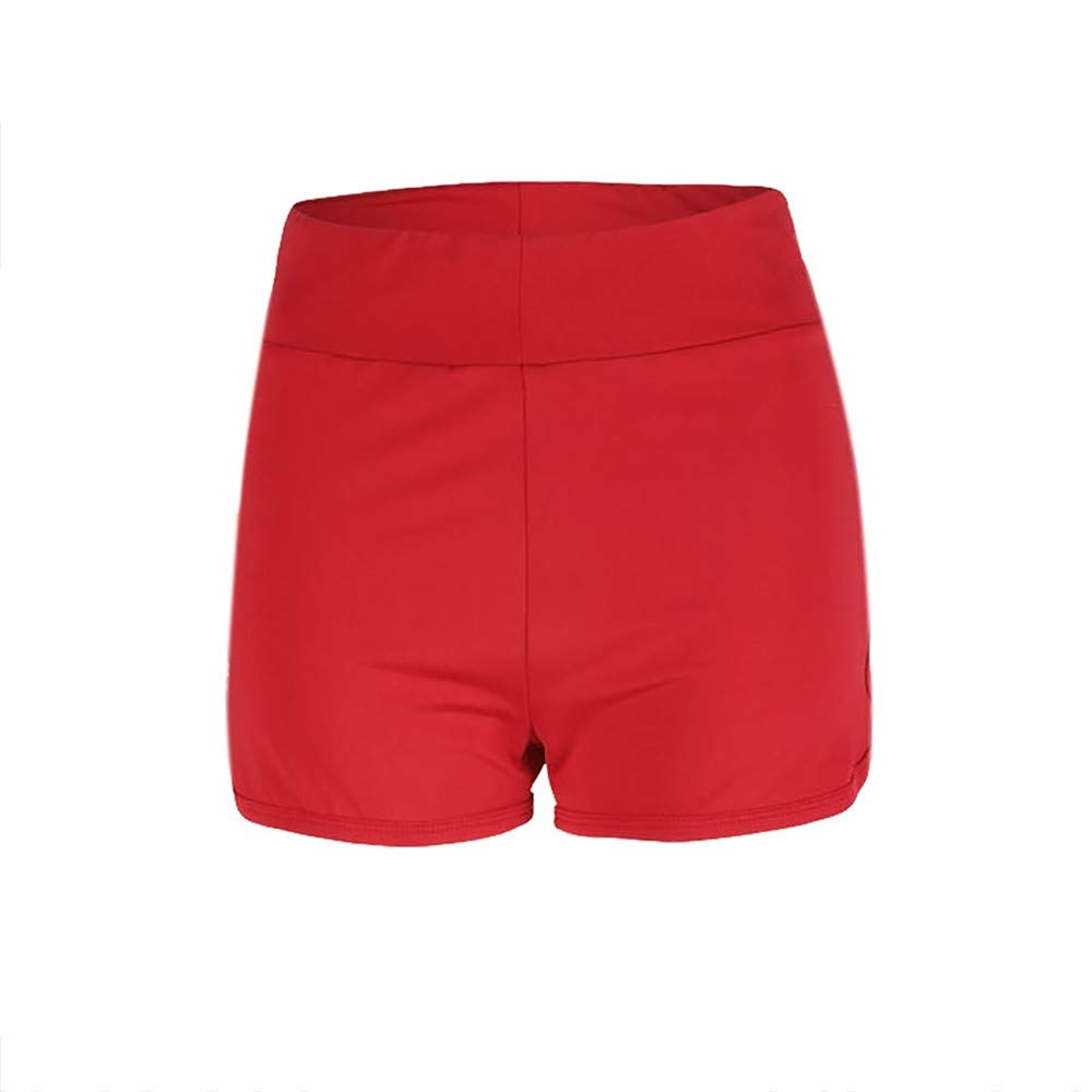 wodceeke High Waist Short Pants,Women's Sexy Slim Wrinkle Design Casual Shorts Sports Shorts Mini Shorts Pants (S, Red)