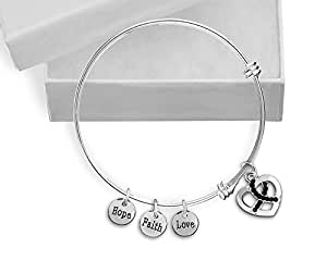 Black Crystal Ribbon Retractable Charm Bracelet in a Gift Box (Retail)