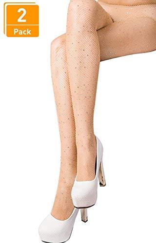 - DancMolly Fishnet Stockings Pantyhose Women's 2 Pair High Waist Hollow Mesh Tights Legging Hosiery (Rhinestone/Nude Small Hole,2 Pack, One Size)