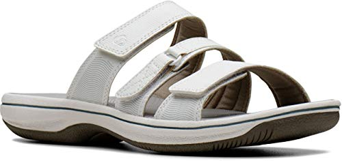 (CLARKS Women's Brinkley Coast Hanging Flip Flop Sandal White Patent 12 M US )