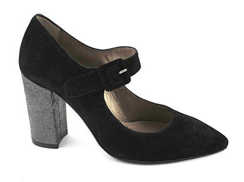 MELLUSO E5042 Chaussures Femme Noire Dcollet Bout Boucle Sangle TCCO Nero kVuxq